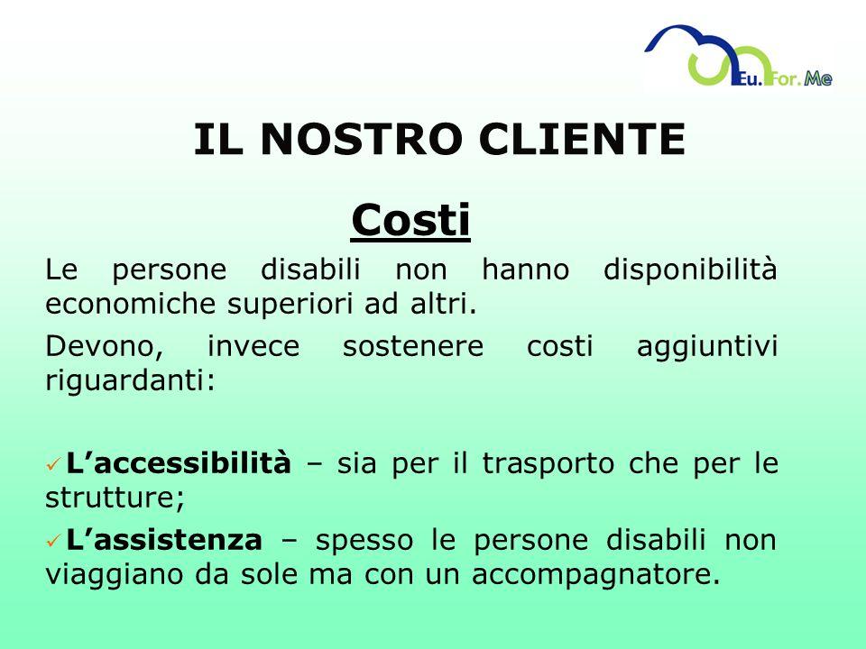IL NOSTRO CLIENTE Costi Le persone disabili non hanno disponibilità economiche superiori ad altri. Devono, invece sostenere costi aggiuntivi riguardan