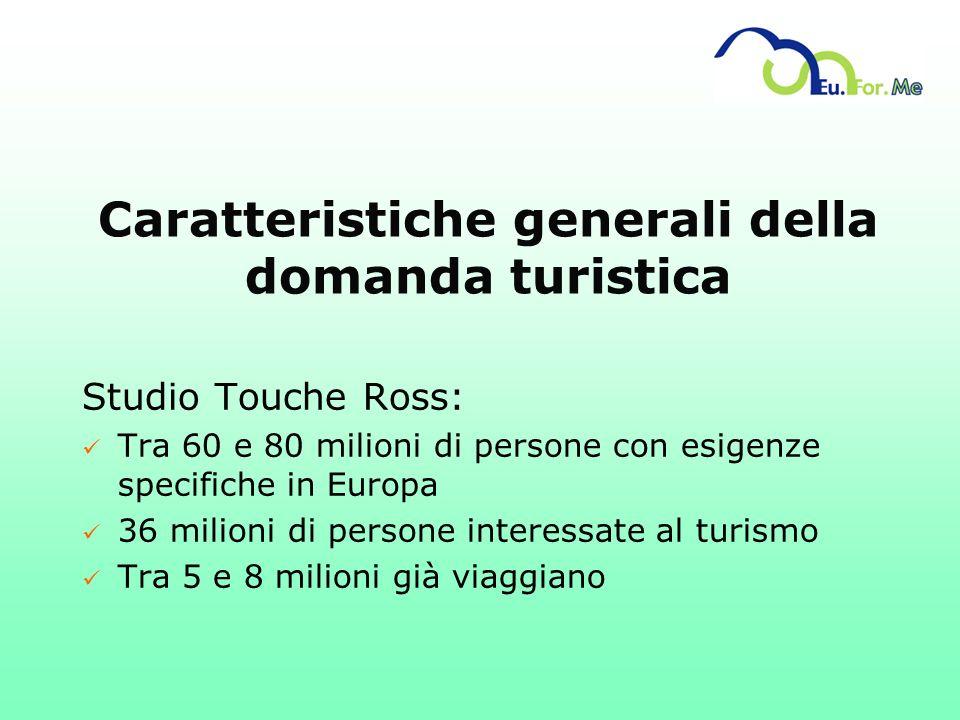 Caratteristiche generali della domanda turistica Studio Touche Ross: ü Tra 60 e 80 milioni di persone con esigenze specifiche in Europa ü 36 milioni d