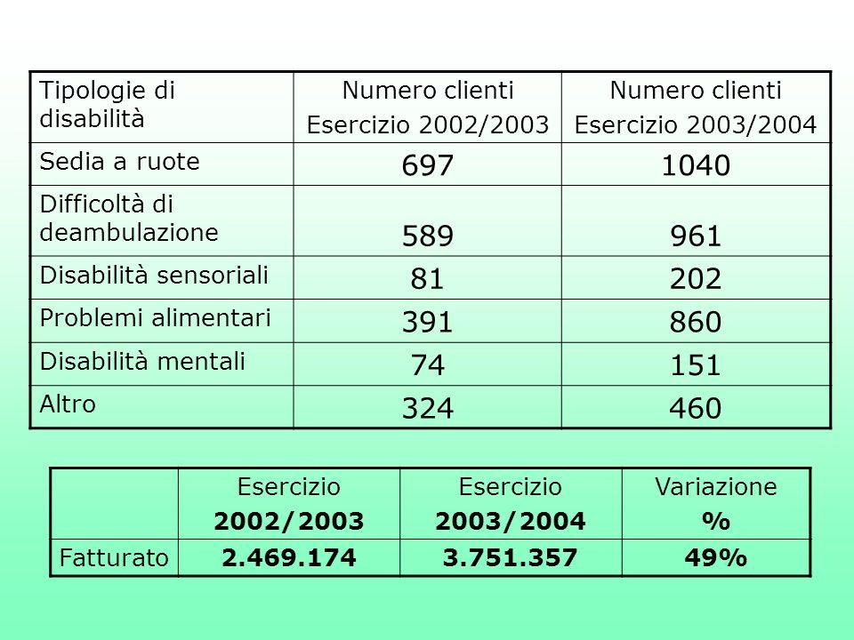 Tipologie di disabilità Numero clienti Esercizio 2002/2003 Numero clienti Esercizio 2003/2004 Sedia a ruote 6971040 Difficoltà di deambulazione 589961