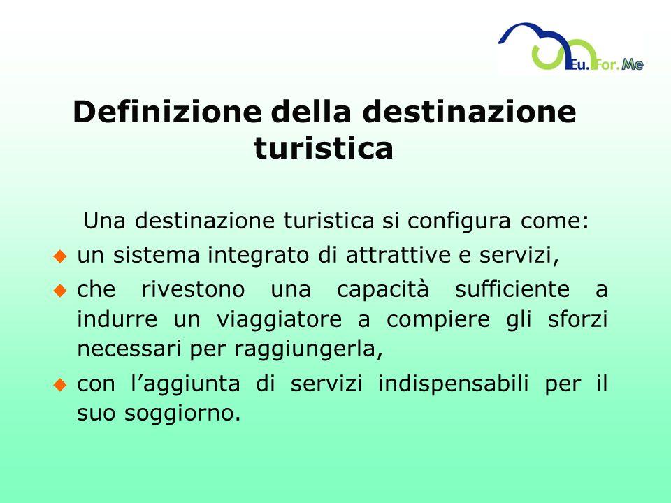 Definizione della destinazione turistica Una destinazione turistica si configura come: u un sistema integrato di attrattive e servizi, u che rivestono