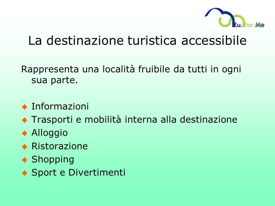 La destinazione turistica accessibile Rappresenta una località fruibile da tutti in ogni sua parte. u Informazioni u Trasporti e mobilità interna alla