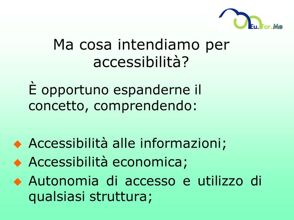 Ma cosa intendiamo per accessibilità? È opportuno espanderne il concetto, comprendendo: u Accessibilità alle informazioni; u Accessibilità economica;