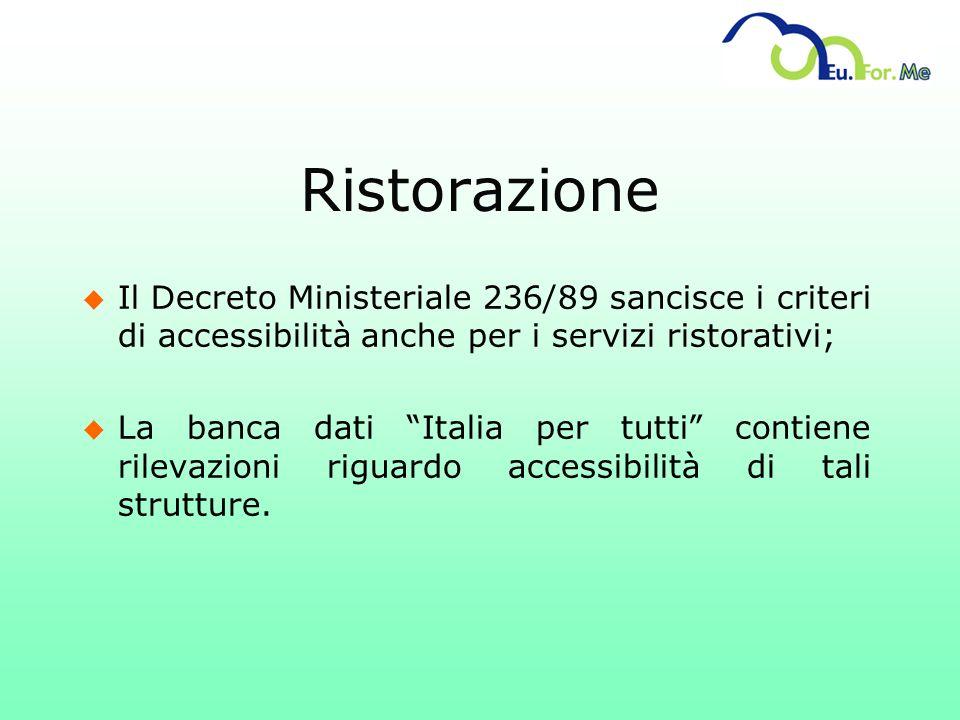u Il Decreto Ministeriale 236/89 sancisce i criteri di accessibilità anche per i servizi ristorativi; u La banca dati Italia per tutti contiene rileva