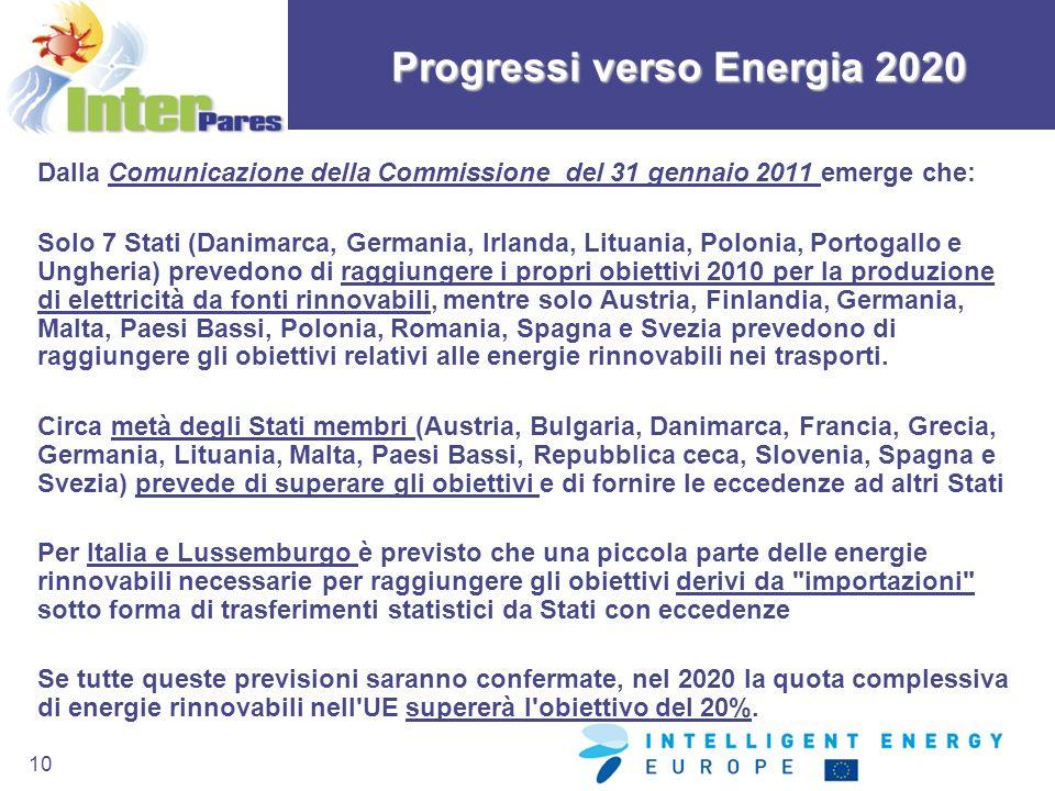 10 Progressi verso Energia 2020 Dalla Comunicazione della Commissione del 31 gennaio 2011 emerge che: Solo 7 Stati (Danimarca, Germania, Irlanda, Litu