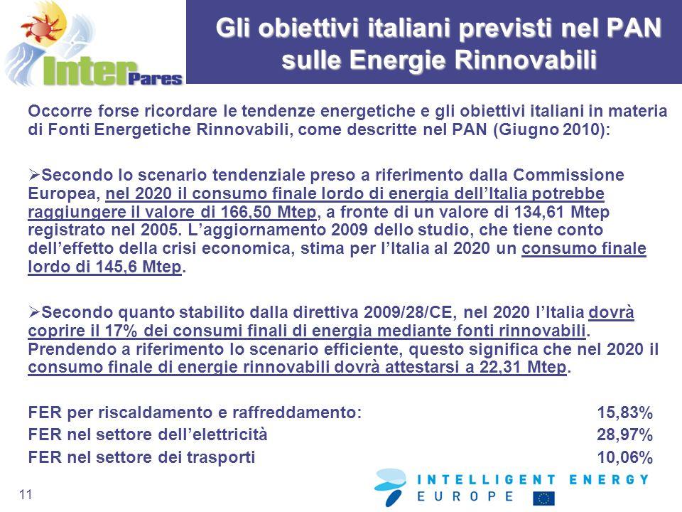 11 Gli obiettivi italiani previsti nel PAN sulle Energie Rinnovabili Occorre forse ricordare le tendenze energetiche e gli obiettivi italiani in mater
