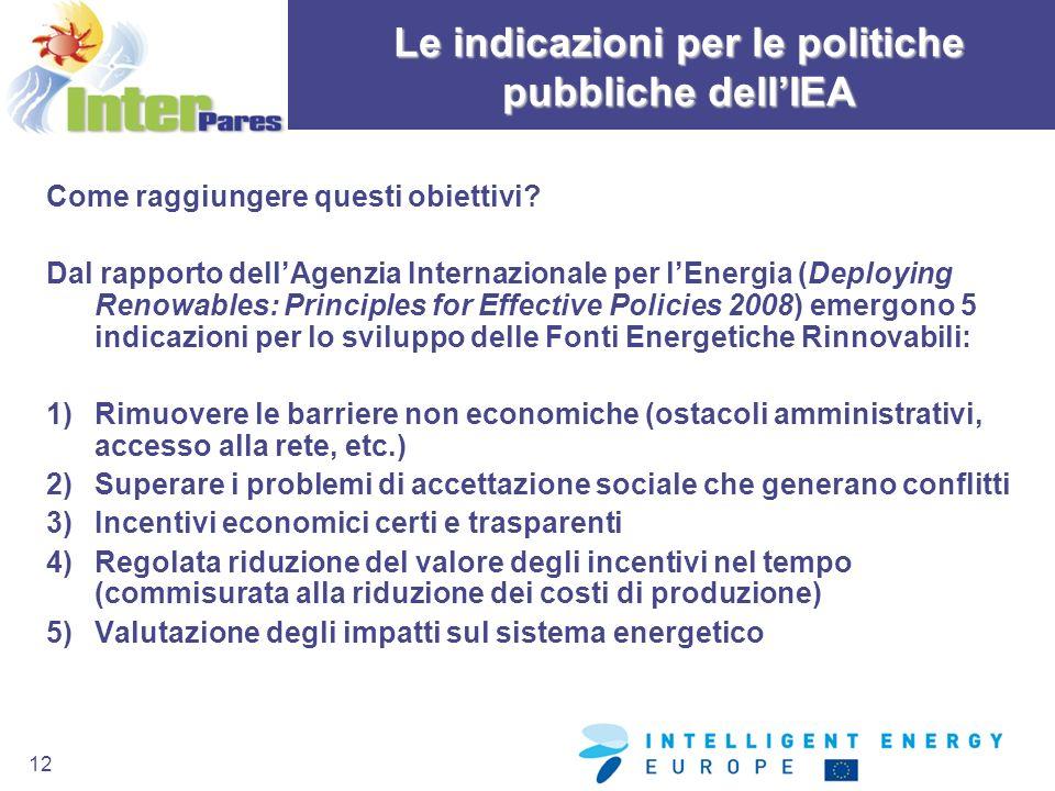 12 Come raggiungere questi obiettivi? Dal rapporto dellAgenzia Internazionale per lEnergia (Deploying Renowables: Principles for Effective Policies 20