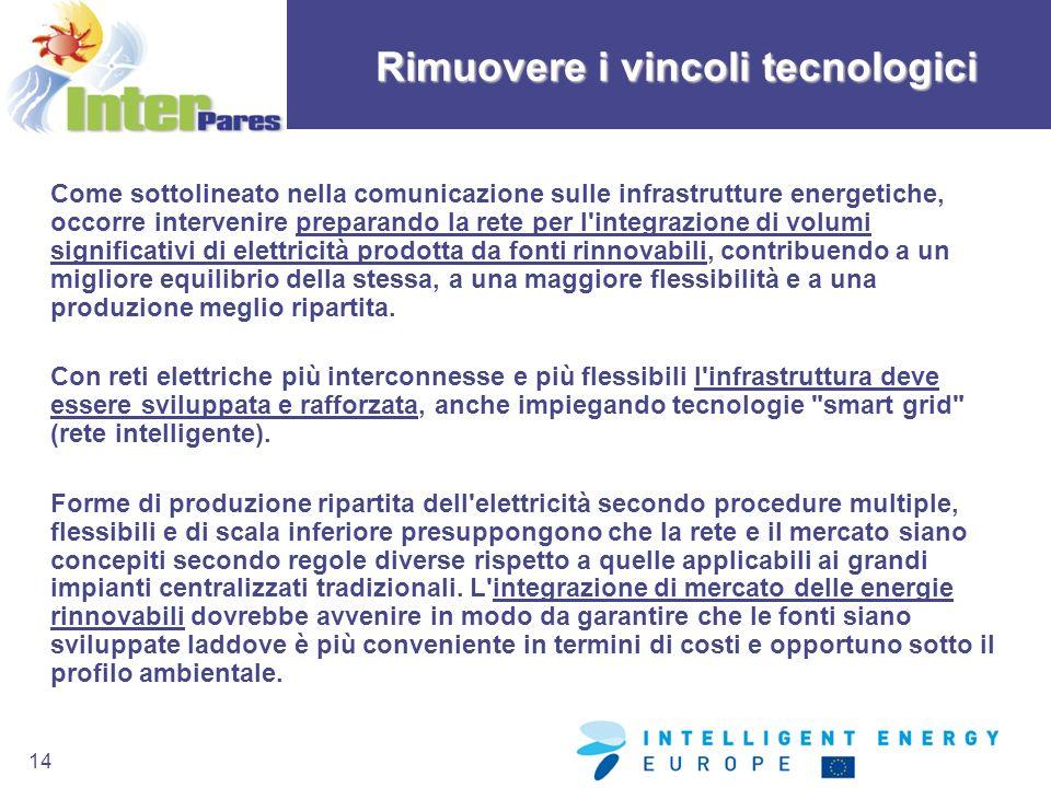 14 Come sottolineato nella comunicazione sulle infrastrutture energetiche, occorre intervenire preparando la rete per l'integrazione di volumi signifi