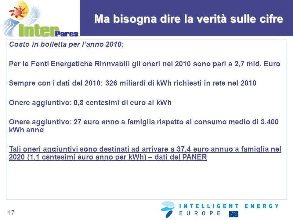 17 Ma bisogna dire la verità sulle cifre Costo in bolletta per lanno 2010: Per le Fonti Energetiche Rinnvabili gli oneri nel 2010 sono pari a 2,7 mld.