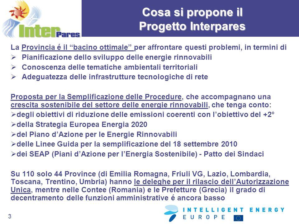 3 Cosa si propone il Progetto Interpares La Provincia é il bacino ottimale per affrontare questi problemi, in termini di Pianificazione dello sviluppo