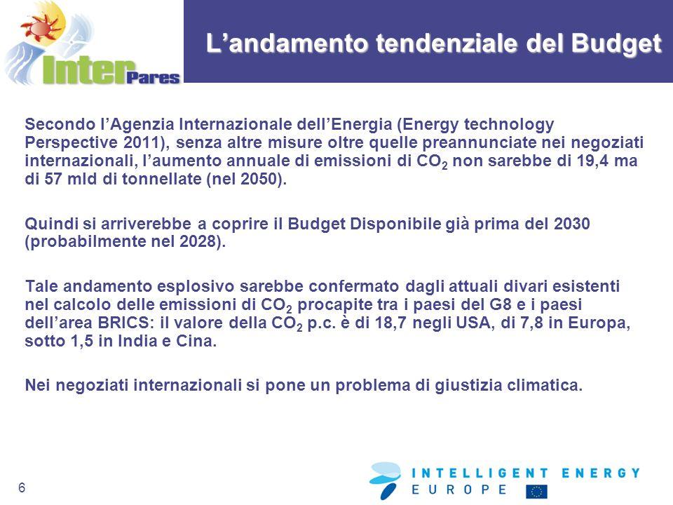 6 Secondo lAgenzia Internazionale dellEnergia (Energy technology Perspective 2011), senza altre misure oltre quelle preannunciate nei negoziati intern