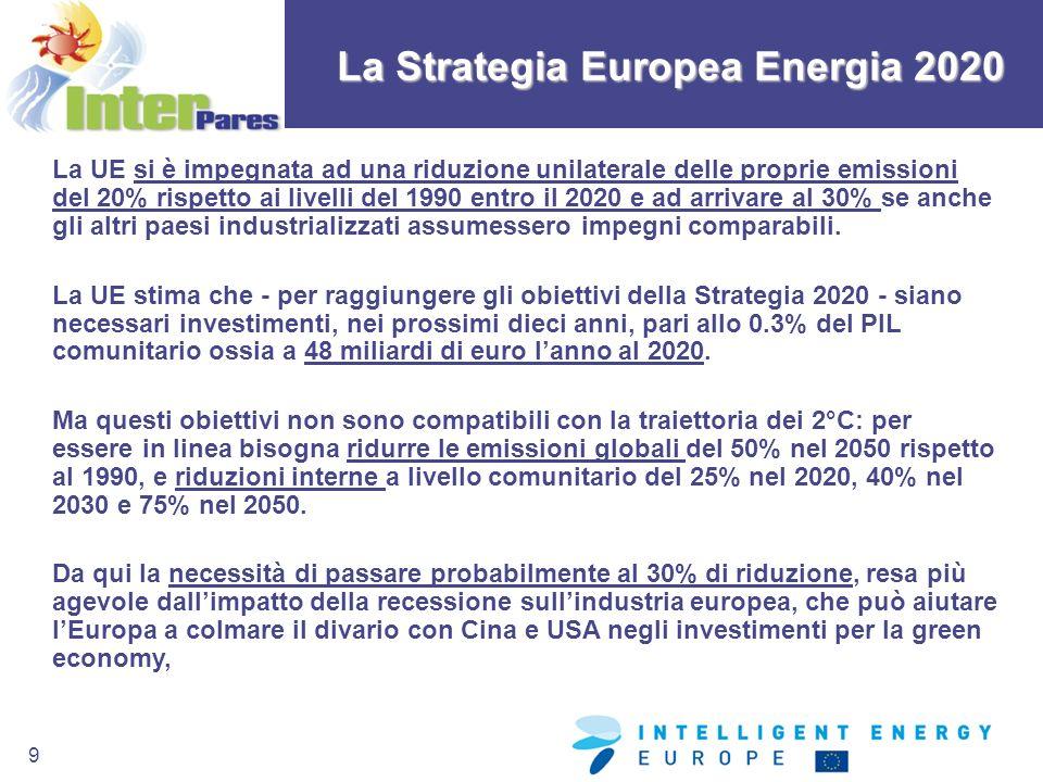 9 La Strategia Europea Energia 2020 La UE si è impegnata ad una riduzione unilaterale delle proprie emissioni del 20% rispetto ai livelli del 1990 ent