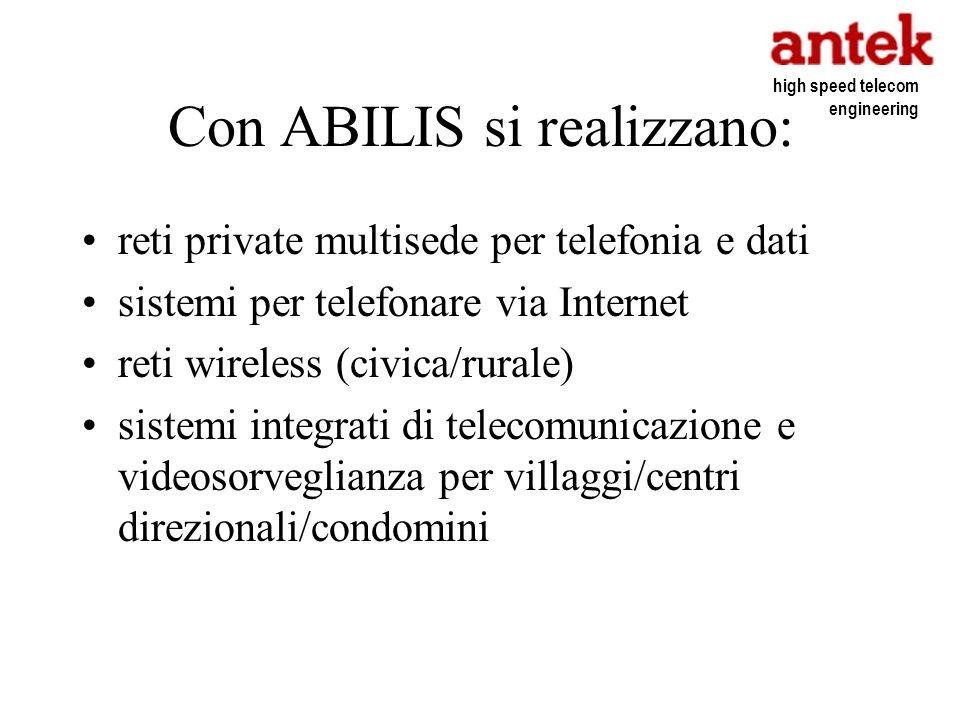 Con ABILIS si realizzano: reti private multisede per telefonia e dati sistemi per telefonare via Internet reti wireless (civica/rurale) sistemi integr