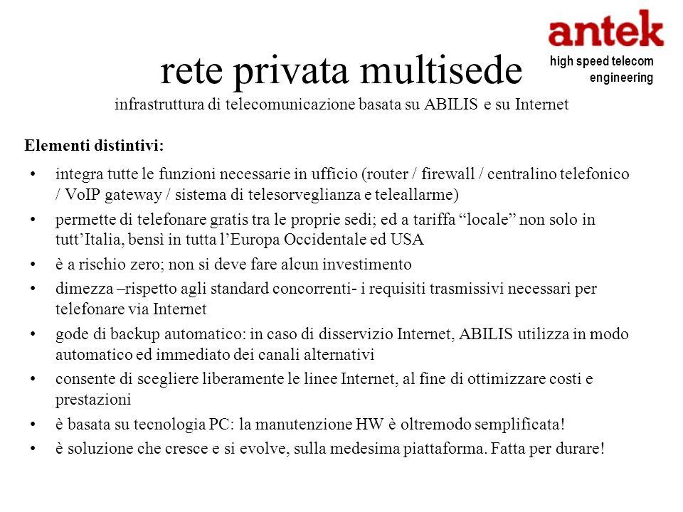 rete privata multisede infrastruttura di telecomunicazione basata su ABILIS e su Internet integra tutte le funzioni necessarie in ufficio (router / fi