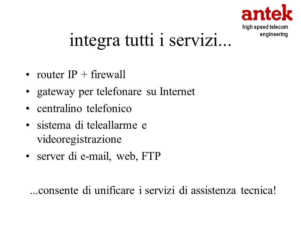 integra tutti i servizi... router IP + firewall gateway per telefonare su Internet centralino telefonico sistema di teleallarme e videoregistrazione s