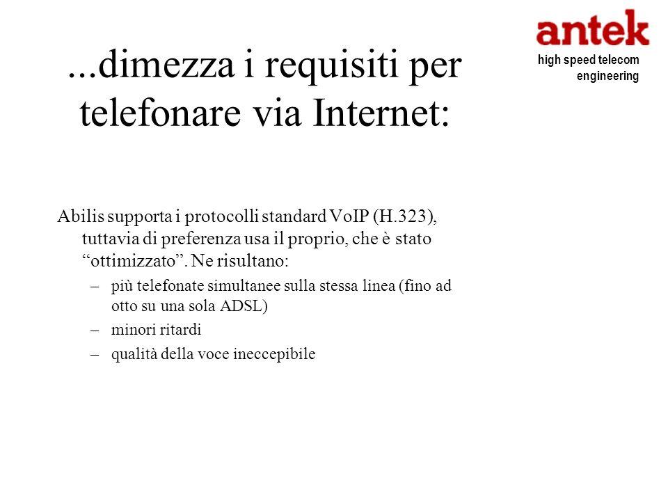 ...dimezza i requisiti per telefonare via Internet: Abilis supporta i protocolli standard VoIP (H.323), tuttavia di preferenza usa il proprio, che è s