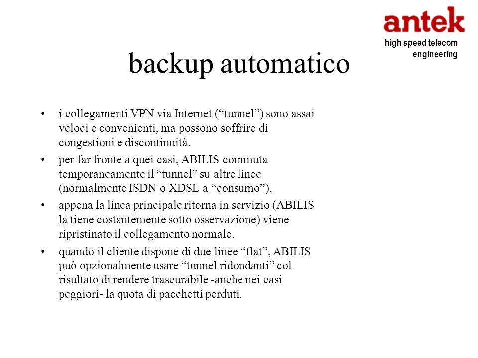 backup automatico i collegamenti VPN via Internet (tunnel) sono assai veloci e convenienti, ma possono soffrire di congestioni e discontinuità. per fa