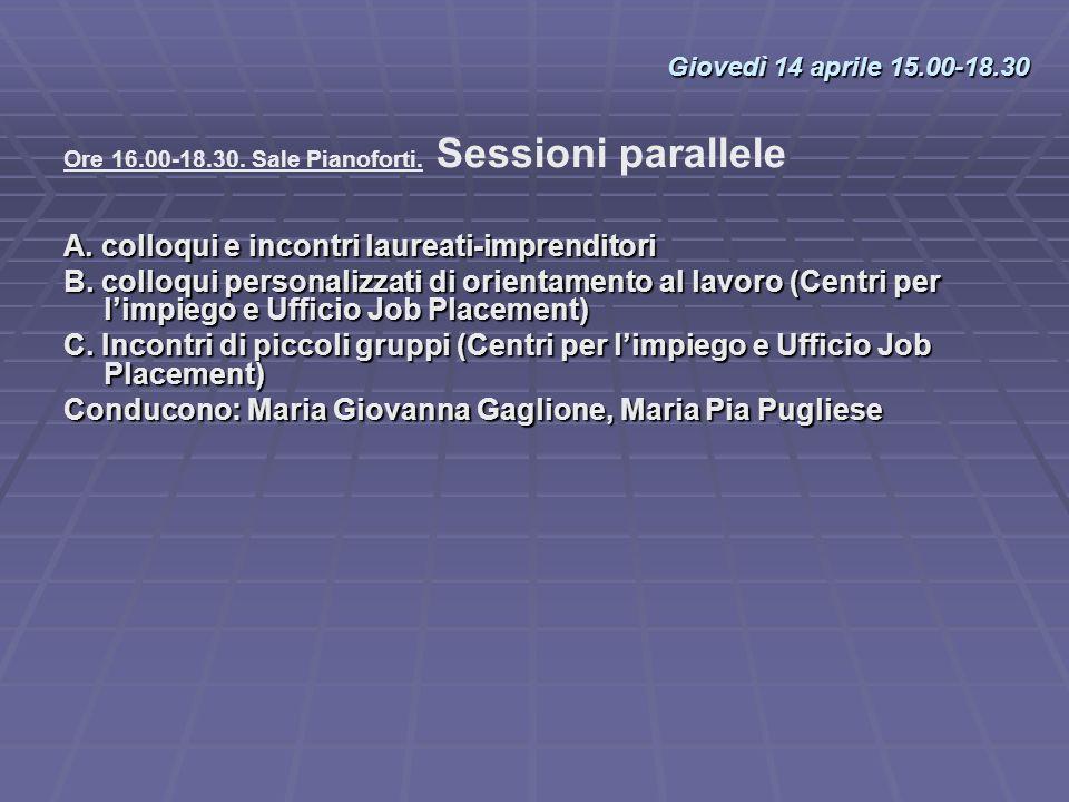 Ore 16.00-18.30. Sale Pianoforti. Sessioni parallele A. colloqui e incontri laureati-imprenditori B. colloqui personalizzati di orientamento al lavoro