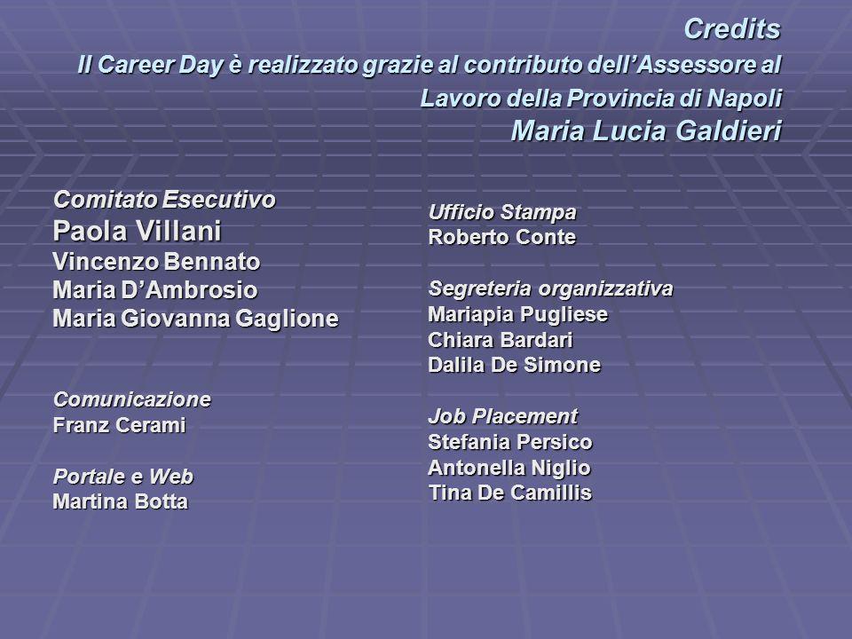 Credits Il Career Day è realizzato grazie al contributo dellAssessore al Lavoro della Provincia di Napoli Maria Lucia Galdieri Credits Il Career Day è