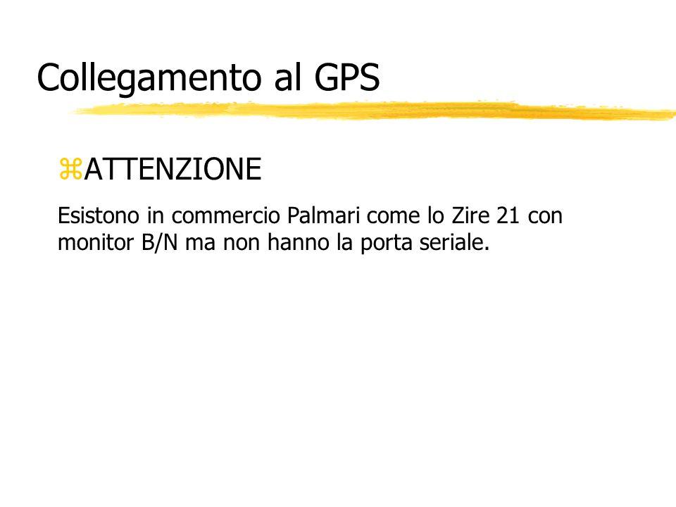 Collegamento al GPS zATTENZIONE Esistono in commercio Palmari come lo Zire 21 con monitor B/N ma non hanno la porta seriale.