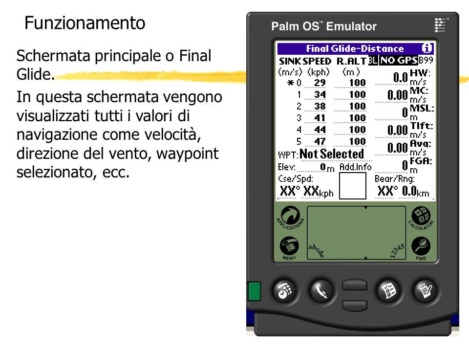 Funzionamento Schermata principale o Final Glide. In questa schermata vengono visualizzati tutti i valori di navigazione come velocità, direzione del