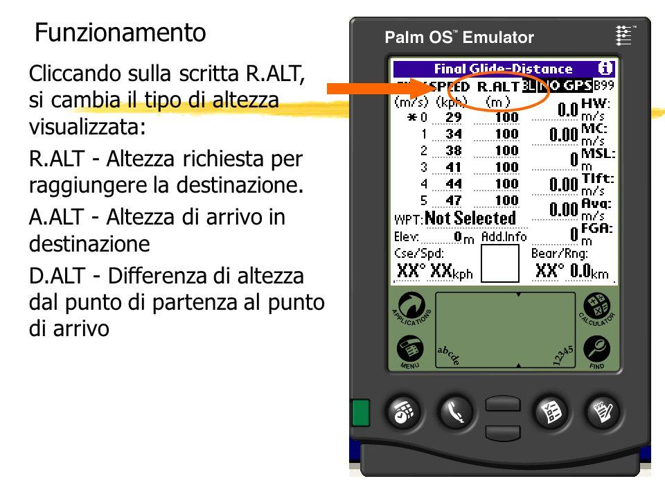 Funzionamento Cliccando sulla scritta R.ALT, si cambia il tipo di altezza visualizzata: R.ALT - Altezza richiesta per raggiungere la destinazione. A.A