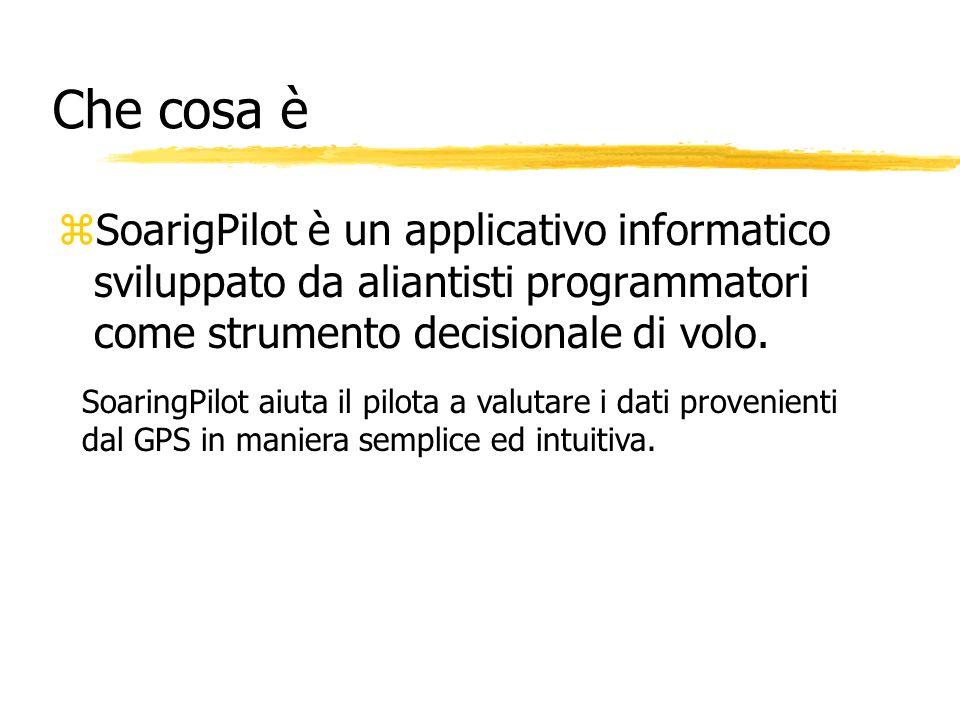 Che cosa è zSoarigPilot è un applicativo informatico sviluppato da aliantisti programmatori come strumento decisionale di volo. SoaringPilot aiuta il