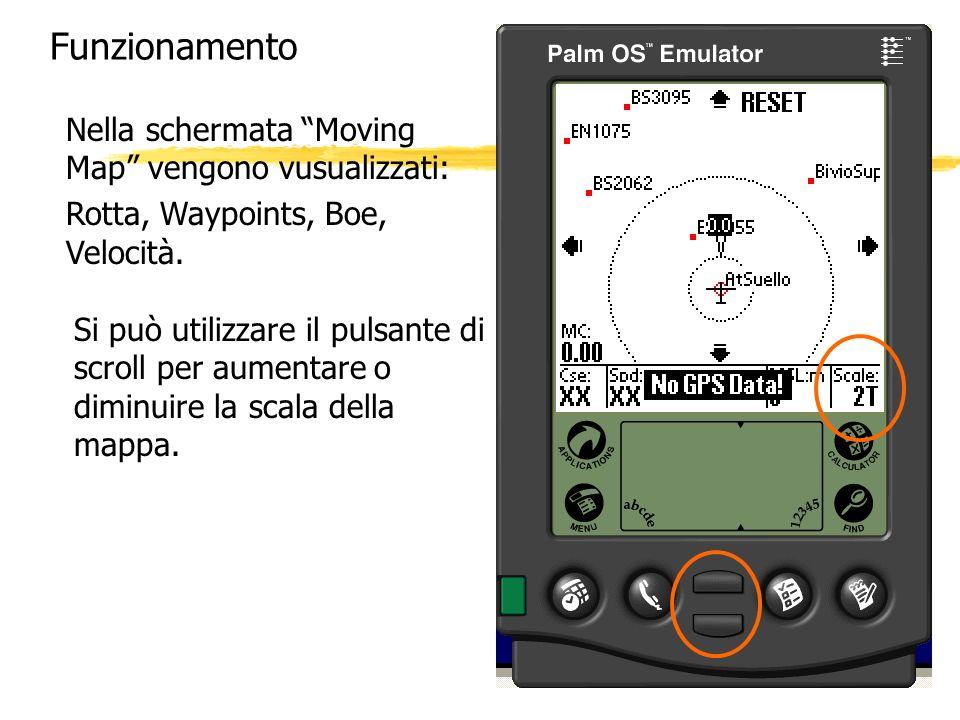 Funzionamento Nella schermata Moving Map vengono vusualizzati: Rotta, Waypoints, Boe, Velocità. Si può utilizzare il pulsante di scroll per aumentare