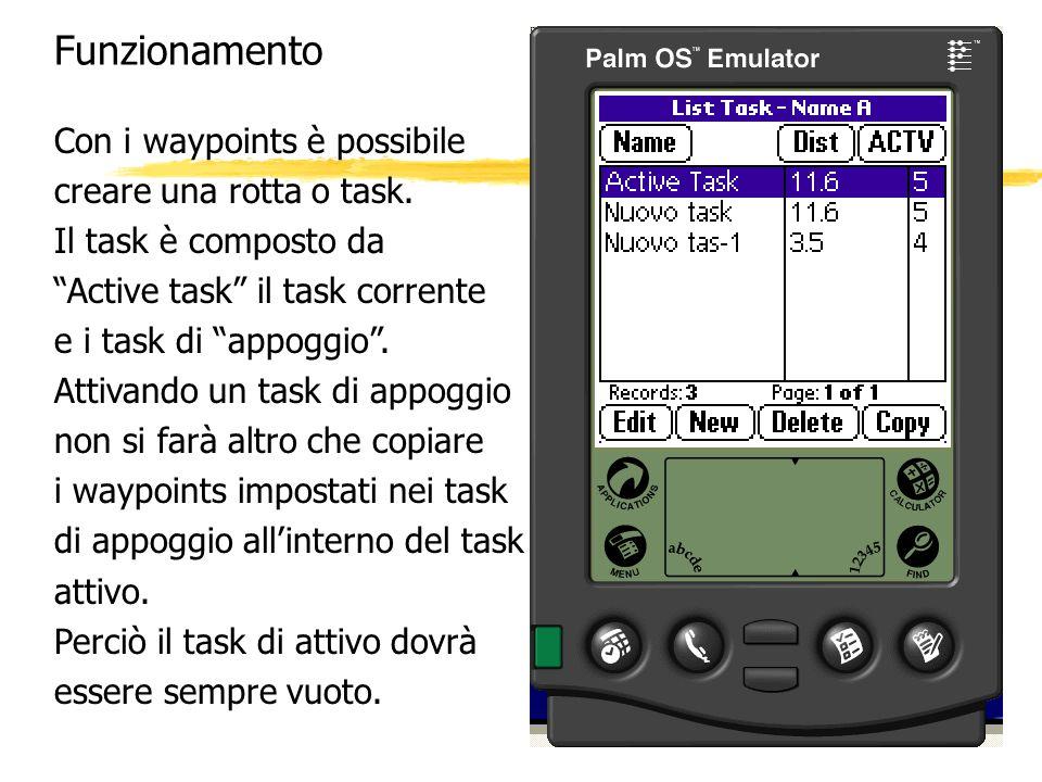 Funzionamento Con i waypoints è possibile creare una rotta o task. Il task è composto da Active task il task corrente e i task di appoggio. Attivando