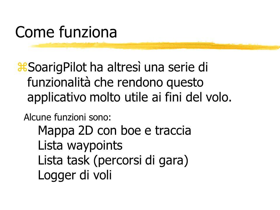 Come funziona zSoarigPilot ha altresì una serie di funzionalità che rendono questo applicativo molto utile ai fini del volo. Alcune funzioni sono: Map