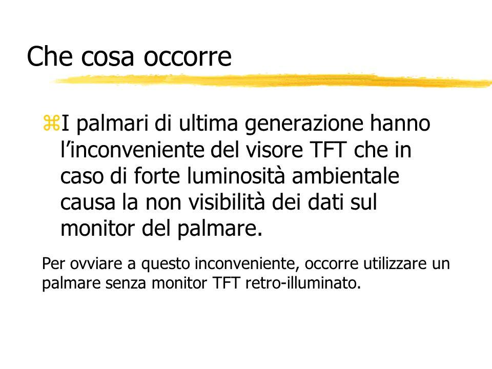 Che cosa occorre zI palmari di ultima generazione hanno linconveniente del visore TFT che in caso di forte luminosità ambientale causa la non visibili