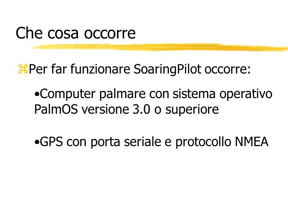 Che cosa occorre zPer far funzionare SoaringPilot occorre: Computer palmare con sistema operativo PalmOS versione 3.0 o superiore GPS con porta serial