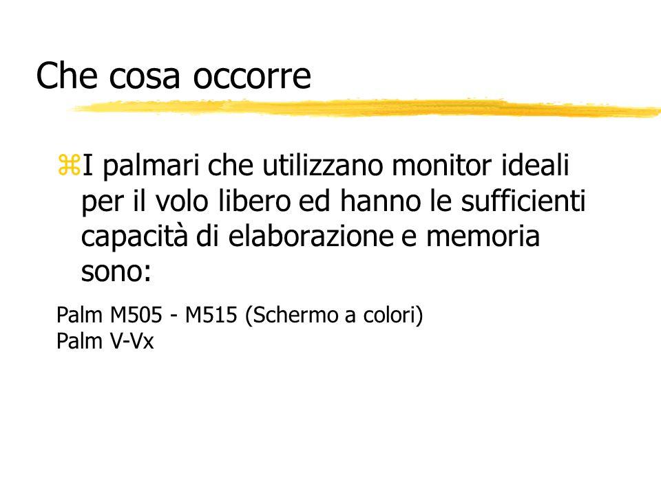 Che cosa occorre zI palmari che utilizzano monitor ideali per il volo libero ed hanno le sufficienti capacità di elaborazione e memoria sono: Palm M50