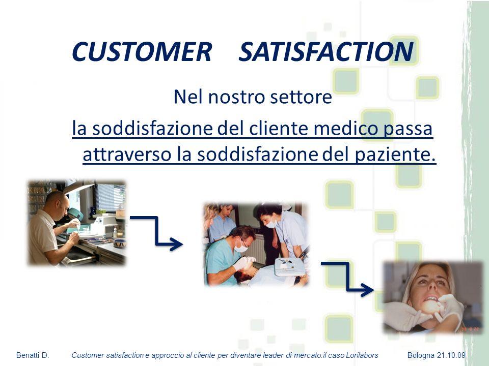 Nel nostro settore la soddisfazione del cliente medico passa attraverso la soddisfazione del paziente. CUSTOMER SATISFACTION Benatti D. Customer satis