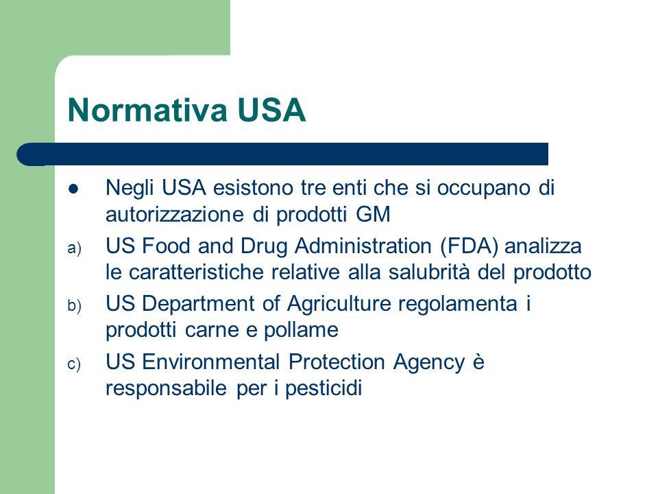 Normativa USA a) Il ruolo dellFDA è quello di analizzare la salubità dei prodotti (contenuto in proteine, grassi, oli e carboidrati).
