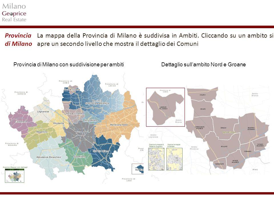 1/24 La mappa della Provincia di Milano è suddivisa in Ambiti. Cliccando su un ambito si apre un secondo livello che mostra il dettaglio dei Comuni Pr