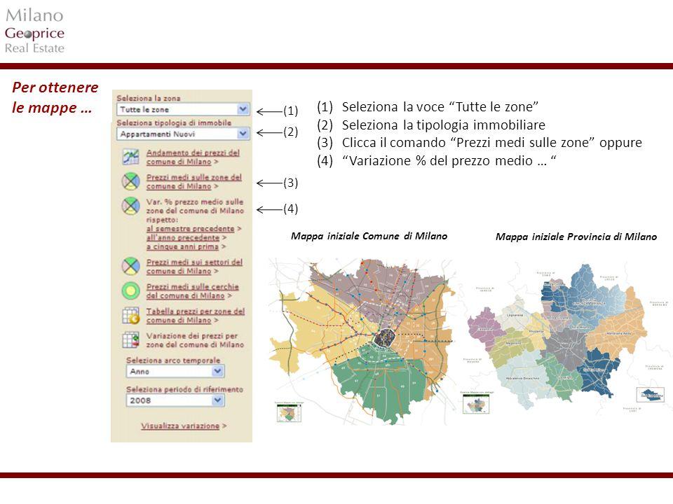 1/24 Grafico dei prezzi di Milano in complesso (media tra le zone di rilevazione di Milano) Grafici