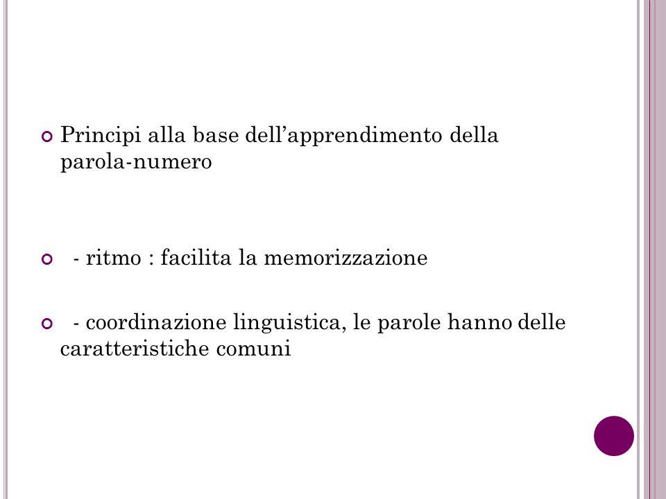Principi alla base dellapprendimento della parola-numero - ritmo : facilita la memorizzazione - coordinazione linguistica, le parole hanno delle carat