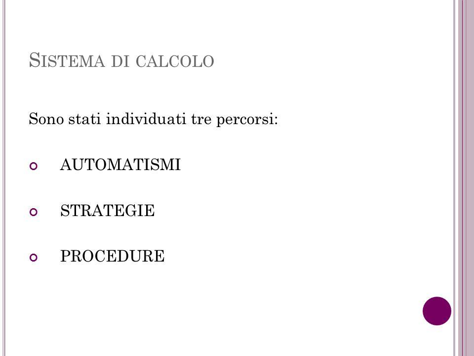 S ISTEMA DI CALCOLO Sono stati individuati tre percorsi: AUTOMATISMI STRATEGIE PROCEDURE
