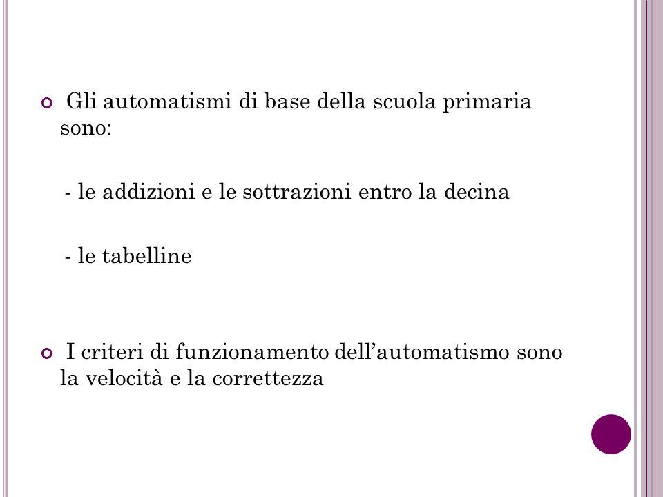 Gli automatismi di base della scuola primaria sono: - le addizioni e le sottrazioni entro la decina - le tabelline I criteri di funzionamento dellauto