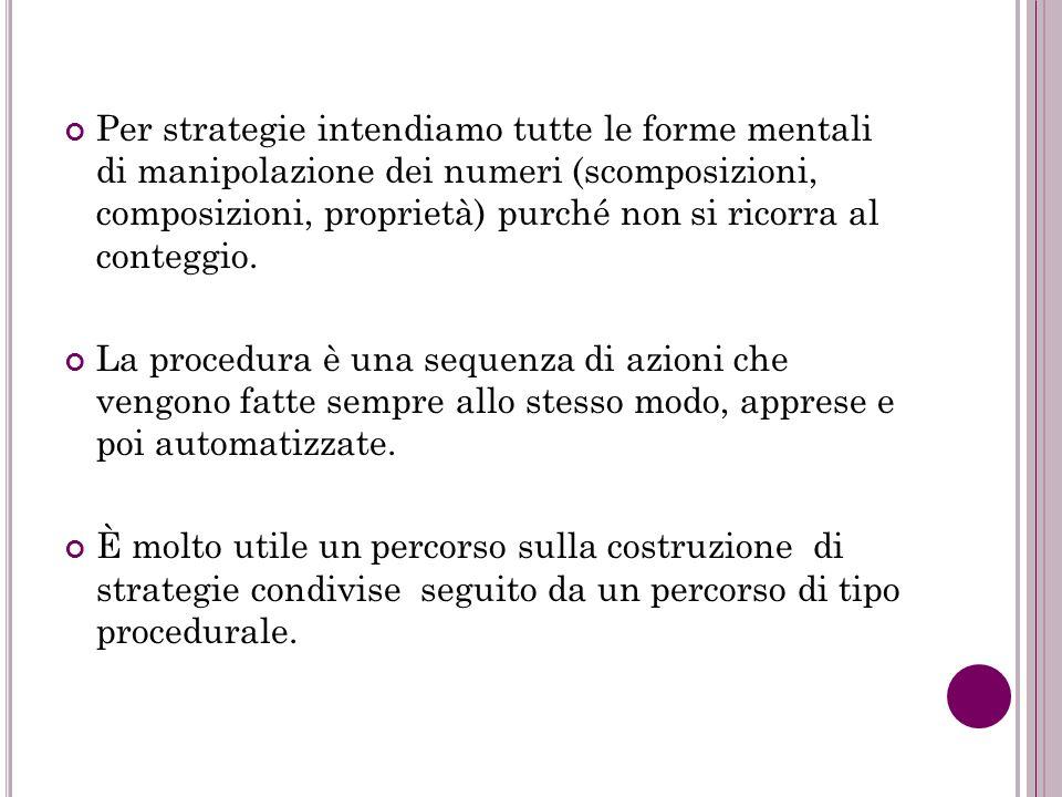Per strategie intendiamo tutte le forme mentali di manipolazione dei numeri (scomposizioni, composizioni, proprietà) purché non si ricorra al conteggi