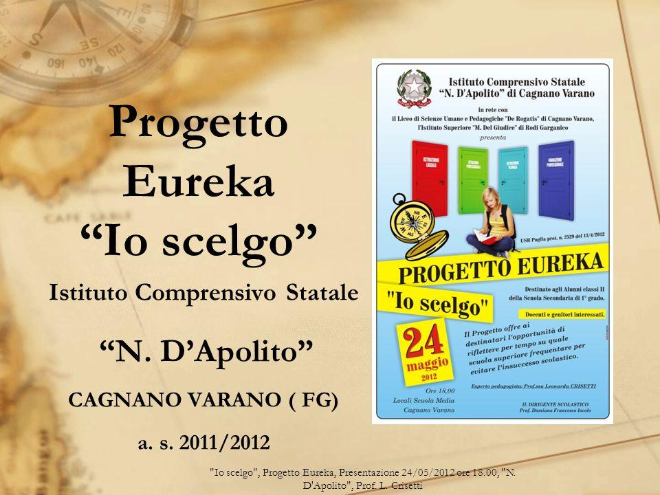 Progetto Eureka Io scelgo Istituto Comprensivo Statale N. DApolito CAGNANO VARANO ( FG) a. s. 2011/2012