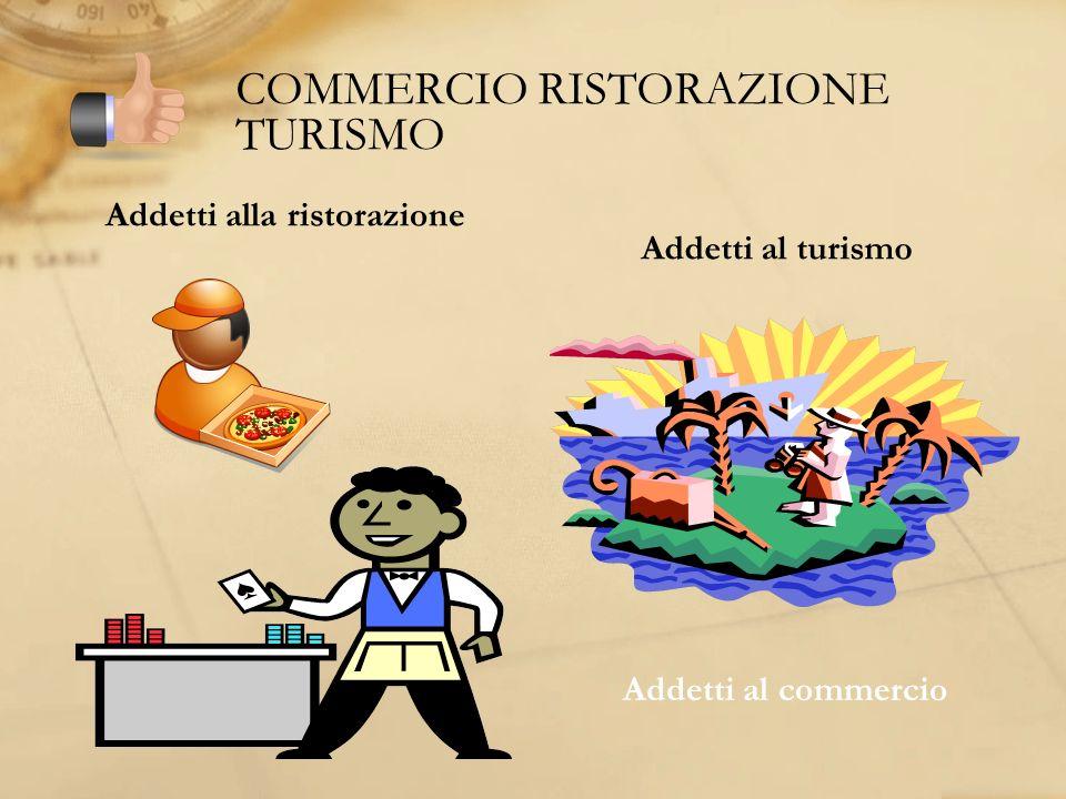 COMMERCIO RISTORAZIONE TURISMO Addetti alla ristorazione Addetti al turismo Addetti al commercio