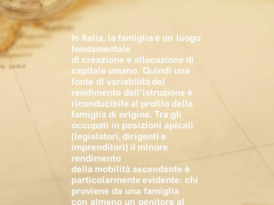 In Italia, la famiglia è un luogo fondamentale di creazione e allocazione di capitale umano. Quindi una fonte di variabilità del rendimento dellistruz