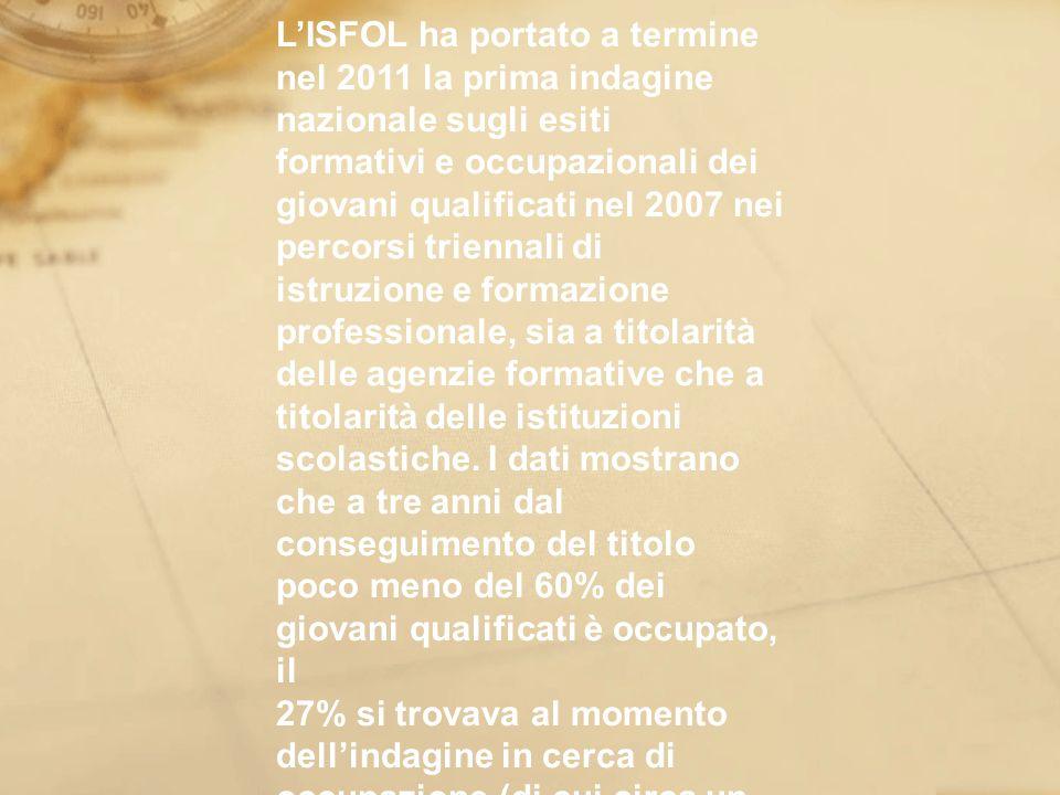 LISFOL ha portato a termine nel 2011 la prima indagine nazionale sugli esiti formativi e occupazionali dei giovani qualificati nel 2007 nei percorsi t