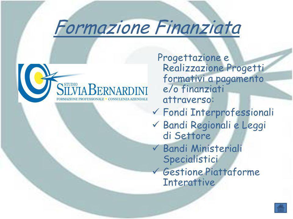 Formazione Finanziata Progettazione e Realizzazione Progetti formativi a pagamento e/o finanziati attraverso: Fondi Interprofessionali Bandi Regionali