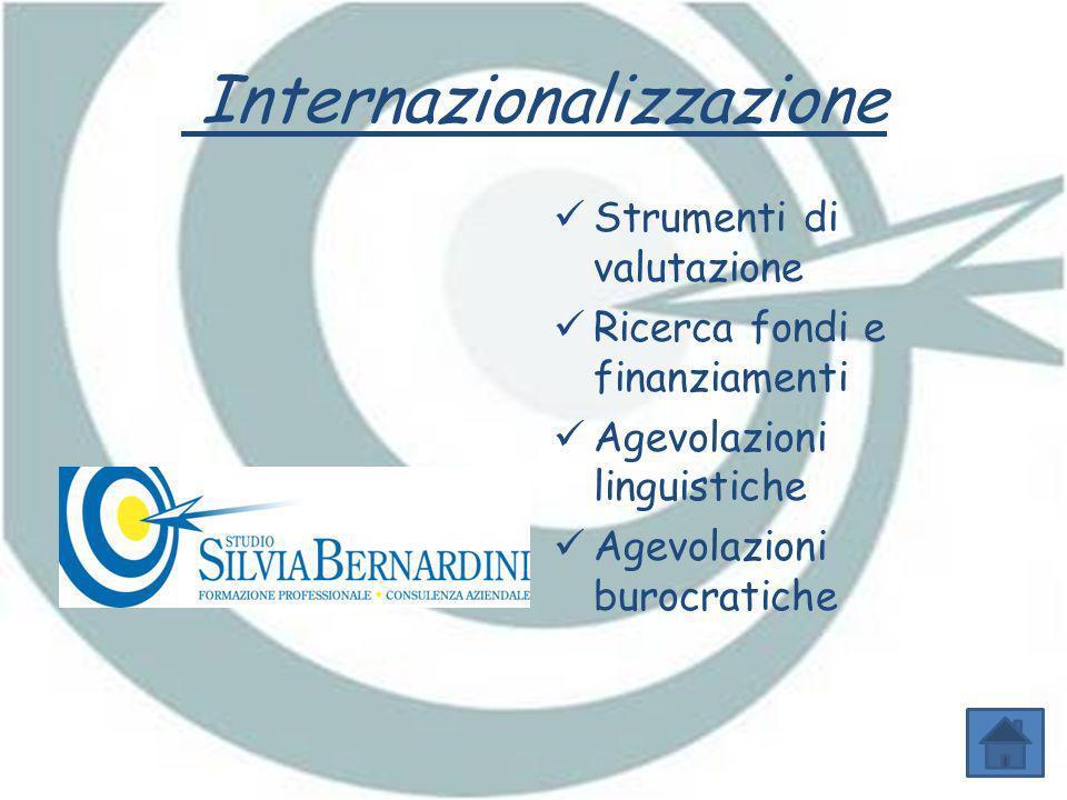 Internazionalizzazione Strumenti di valutazione Ricerca fondi e finanziamenti Agevolazioni linguistiche Agevolazioni burocratiche