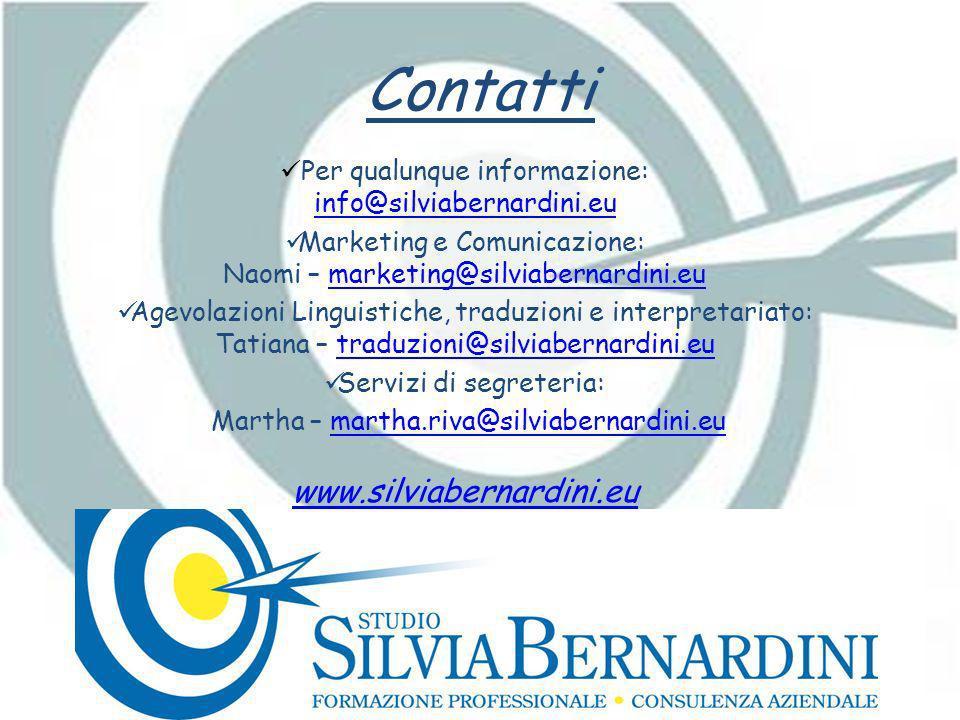 Contatti Per qualunque informazione: info@silviabernardini.eu info@silviabernardini.eu Marketing e Comunicazione: Naomi – marketing@silviabernardini.e