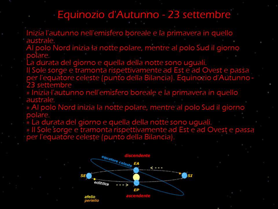 Equinozio d'Autunno - 23 settembre Inizia l'autunno nell'emisfero boreale e la primavera in quello australe. Al polo Nord inizia la notte polare, ment