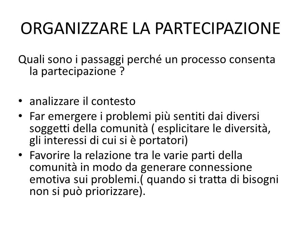 ORGANIZZARE LA PARTECIPAZIONE Quali sono i passaggi perché un processo consenta la partecipazione ? analizzare il contesto Far emergere i problemi più
