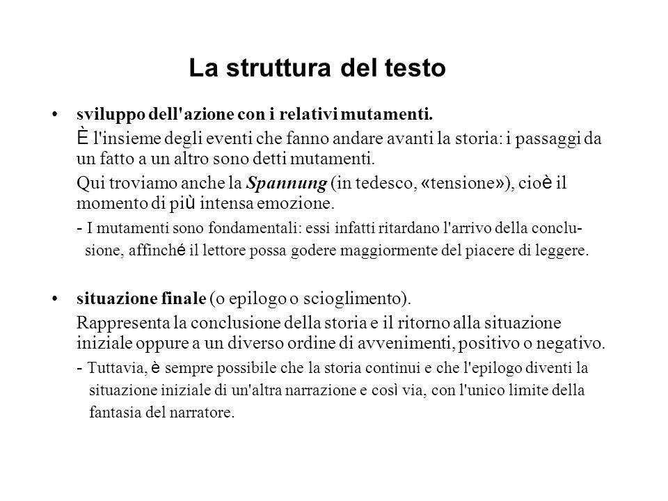 La struttura del testo sviluppo dell'azione con i relativi mutamenti. È l'insieme degli eventi che fanno andare avanti la storia: i passaggi da un fat